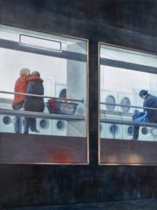 A painting peeking into a laundormat from the outside
